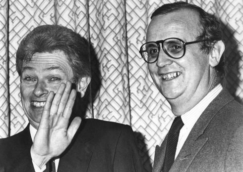 Then government press secretary Peter Prendergast (left) and FF press officer PJ Mara in 1985. Photograph: Irish Times Archive