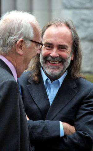 PJ Mara and journalist John Waters in 2010 at the funeral of Vincent Doyle, former editor of the Irish Independent, at the Church of the Annunciation, Rathfarnham. Photograph: Colin Keegan/Collins
