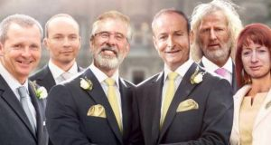 "Going negative: Gerry Adams and Micheál Martin get married in the leaked ""draft"" Labour Party advert"