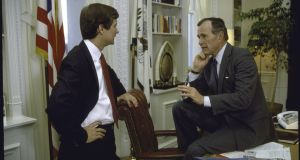 Going negative: George HW Bush with his strategist Lee Atwater. Photograph: Cynthia Johnson/Getty Images