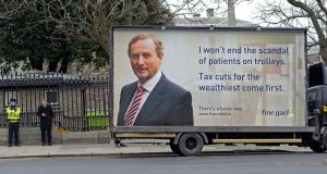 Going negative: Fianna Fáil's first billboard poster of the 2016 election campaign. Photograph: Eric Luke
