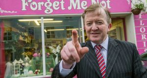 Fine Gael TD John Perry  canvassing in Sligo. Photograph: Brenda Fitzsimons/The Irish Times