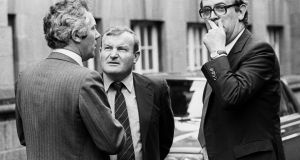 Fianna Fáil press secretary, Tony Fitzpatrick; the Taoiseach' s brother, Mr 'Jock' Haughey and PJ Mara outside Goverment Buildings in 1982. File photograph: Jimmy McCormack/The Irish Times