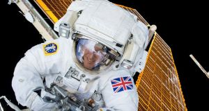 British astronaut Tim Peake is shown during his first spacewalk at the International Space Station in this Nasa image. Peake became the first astronaut representing Britain to walk in space when he left the International Space Station (ISS) on Friday to fix a power station problem. Photograph: Nasa/Handout via Reuters.