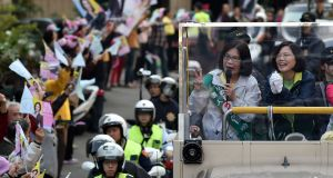 Tsai Ing-wen (R), of  Taiwan's main opposition Democratic Progressive Party (DPP), has won in  Taiwan's presidential election. Photograph:  Sam Yeh/AFP/Getty Images.