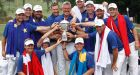 Members of Team Europe with their trophy after winning the Eurasia Cup golf tournament at the Glenmarie Golf and Country Club in Subang, Malaysia. Photograph: Joshua Paul/AFP