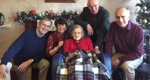 Ireland's oldest person Molly Madden (109) has died. Above Molly is pictured celebrating her 109th birthday with family and friends in the Moyridge Nursing Home in Ballina in  December. Photograph: Mayo News.