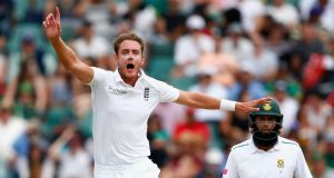 Stuart Broad of England reacts as James Anderson of England nearly catches out Stiaan Van Zyl of South Africa during the third cricket Test  in Johannesburg on Saturday. Photograph: Julian Finney/Getty Images