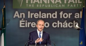 The Fianna Fáil leader Micheal Martin speaking at the party's Ard Fheis, at Citywest, Dublin. Photograph: Eric Luke