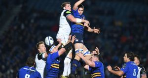 Leinster's Ross Molony contests a lineout against Bath's Stuart Hooper during the European Champions Cup pool game at the RDS. Photograph: Charles McQuillan/Getty Images