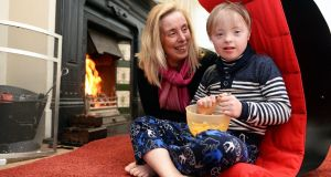 Bridgette Keane and her son Mark (10) at home in Sutton , Co Dublin. Photograph: Eric Luke