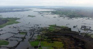 Aerial photograph of flooding damage in Athlone in early January 2016. Photograph: Irish Air Corps Athlone