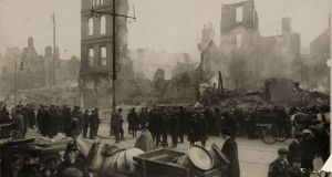 "Cork City after it was burnt in 1920 by the Black and Tans. ""On the British side some form of military struggle was inevitable before Irish demands would be taken seriously."" National Photographic Archive (Hogan Wilson Images)"