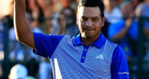 Fabian Gomez  celebrates defeating Brandt Snedeker during a playoff in the final round of the Sony Open in Hawaii. Photograph:  Cliff Hawkins/Getty Images