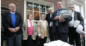 Members of the family of Seamus Ludlow (left to right): Kevin Ludlow (brother), Eileen Fox (sister), Nan Sharkey (sister), Michael Donghan (nephew), solicitor James Mac Guill and Michael Sharkey (nephew) in Dublin in 2006 as part of campaigning to discover what happened to their relative. File photograph: Alan Betson/The Irish Times
