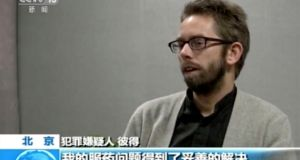 Peter Dahlin, Swedish co-founder of the NGO Chinese Urgent Action Working Group, in a video released by China Central Television. Dahlin became the first foreigner to make what rights activists say was a coerced confession on state TV on charges relating to subversion.  Photograph: CCTV/AP Video
