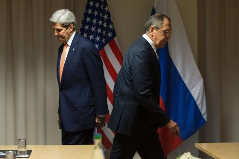SYRIAN TALKS: US secretary of state John Kerry and Russian foreign minister Sergei Lavrov at talks on the Syrian peace process in Zurich, Switzerland. Photograph: Jacquelyn Martin/AFP/Getty Images