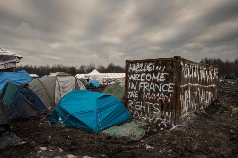 MIGRANT CRISIS: Tents at a camp at Grande-Synthe, France, where almost 2,500 migrants and refugees live. Photograph: Philippe Huguen/AFP/Getty Images