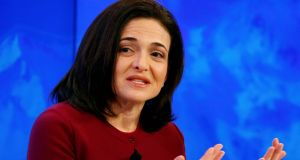"Sheryl Sandberg, chief operating officer of Facebook, attends the  ""Transformation of Tomorrow""  session in Davos. Photograph:  Ruben Sprich/Reuters"