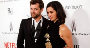 'The Affair' actor Joshua Jackson and writer/producer Sarah Treem are pictured arriving at a Hollywood party following the Showtime drama's 2015 Golden Globe win.  Photograph: Reuters