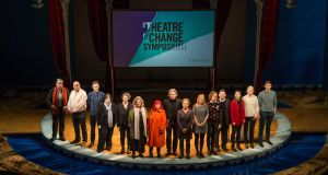 Speakers on stage at The Theatre of Change Symposium, at the Abbey Theatre, Dublin from left; Gideon Levy, Gabriel Gbadamosi, Mark O'Halloran, Mary McAuliffe, Jaki Irvine, Nuala Hayes, Penny Arcade, Fiach MacConghail, Sarah Jane Scaife, Zoe Lafferty, Lian Bell, Dominic Campbell, Dr Emer O'Toole, Dr Susan Cahill and Fearghus O'Conchuir. Photograph: Dara Mac Dónaill