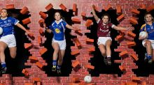Aishling Sheridan (Cavan), Áine Haberlin (Laois), Karen McDermott (Westmeath) and Lorraine O'Shea (Tipperary) at the announcement of Lidl's three-year partnership with the Ladies Gaelic Football Association. Photograph: Sportsfile