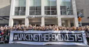 Women demonstrating at the Abbey Theatre during the Waking The Feminists event in November to highlight the lack of gender equality in the Abbey's programme of events for 2016. Photograph: Brenda Fitzsimons