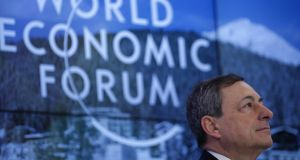 Mario Draghi, president of the European Central Bank (ECB), during a panel session at the World Economic Forum in Davos, Switzerland on Friday. Photograph: Matthew Lloyd/Bloomberg
