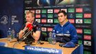 Leinster head coach Leo Cullen and Jonathan Sexton ahead of Saturday's trip to play against Wasps. Photograph: Gary Carr/Inpho