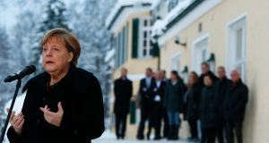"German chancellor Angela Merkel: The Christian Social Union (CSU), which is allied to Merkel's governing CDU party, opposes her perceived ""open door"" policy on migration. Photograph: Michaela Rehle/Reuters"