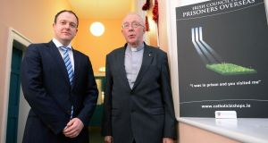Brian Hanley, co-ordinator with the Irish Council for Prisoners Overseas, and Bishop John Kirby , ICPO chaiman,  in  Maynooth, Co Kildare. Photograph: Eric Luke/The Irish Times