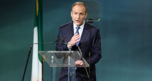 The Fianna Fail leader Micheal Martin , speaking at the party's Ard Fheis last weekend. Photograph: Eric Luke / The Irish Times