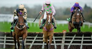 Nichols Canyon clears the last ahead of Faugheen and goes on to win  the Morgiana Hurdle in November, Faugheen's only loss in 12 races. The pair clash in Sunday's Champion Hurdle. Photograph: Morgan Treacy/Inpho