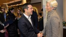 Greek prime minister Alexis Tsipras  with Christine Lagarde, managing director of the IMF, at a bilateral meeting  in Davos. Photograph: Jean-Christophe Bott/ EPA