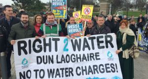 Richard Boyd Barrett at a water protest in Dun Laoghaire on Saturday morning. Photograph: Cyril Byrne/The Irish Times