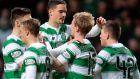 Celtic celebrate after Gary Mackay-Steven's third goal in their 3-1 win over St Johnstone. Photograph: Reuters