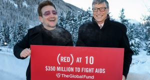 Bono and Bill Gates at the World Economic Forum annual meeting in Davos to mark the 10 years of RED. Photograph: AFP/Getty Images