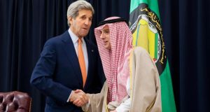 Saudi foreign minister Adel al-Jubeir  and US Secretary of State John Kerry: there has been a decades-long relationship between the spy services of Saudi Arabia and the United States. Photograph: Jacquelyn Martin/AFP/Getty Images