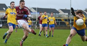 Eamon Branningan shoots for Galway in their Connacht league final wni over Roscommon. Photograph: Inpho