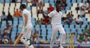 South Africa's bowler Kagiso Rabada celebrates after dismissing England's batsman Jonathan Bairstow for a duck. Photograph: Themba Hadebe/AP