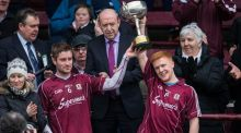 Joint Galway captains Gary O'Donnell and Adrian Varley lift the cup after defeating Roscommon to win the Connacht FBD Senior Football League Final at Tuam Stadium, Galway. Photograph: Inpho