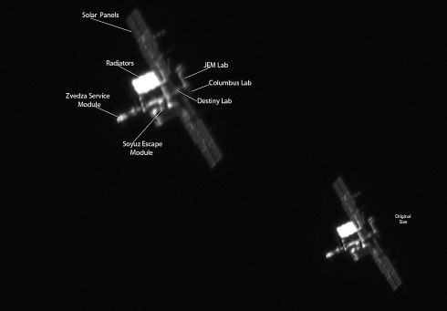 This is an image of the International Space Station from the 30-4-11 taken from a back garden in Balbriggan. The angle on this image allows you to see each of the modules, as labelled in the image. The exhibition, which is sponsored by Canon Ireland, will run from February 2nd to 21st, 2016 at the National Botanic Gardens, Glasnevin, Dublin. Photograph: Carl O'Beirne