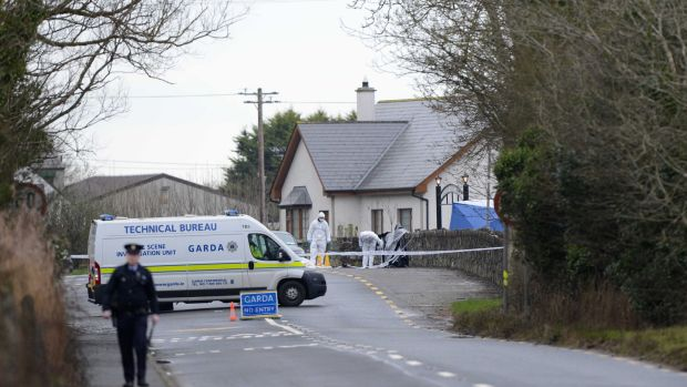 The scene following the shooting of Detective Garda Adrian Donohoe near Dundalk, Co Louth. File photograph: Dara Mac Dónaill/The Irish Times