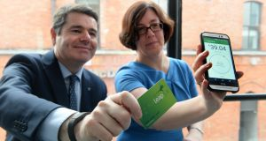 Minister for Transport Paschal Donohoe and Anne Graham, chief executive of the National Transport Authority, at the launch of a new Leap Card application for Android phones. Photograph: Cyril Byrne/The Irish Times.