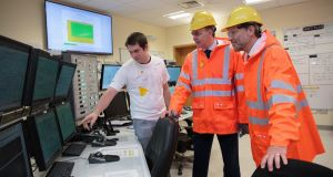 Pictured in the control room of Shell's gas refinery at Bellanaboy in north Mayo  are control room operator Tom Bond, Minister of State  Joe McHugh and Shell E&P Ireland managing director Ronan Deasy. Photograph: Stuart Conway.