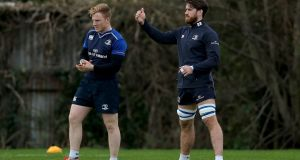 James Tracy and Dominic Ryan take part in Leinster Rugby Squad Training, Rosemount, UCD 25th January. Photograph: Donall Farmer/INPHO