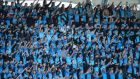 St Michael's supporters during the game at Donnybrook: Photograph: Gary Carr/Inpho