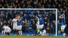 Players from both sides react to Everton's Irish defender Seamus Coleman's late miss against Swansea at Goodison Park.  Photograph: Paul Ellis/AFP /Getty