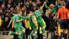Euro 2016-bound: Irish players celebrate a goal in the qualifying round.  Photograph: @INPHO/Morgan Treacy