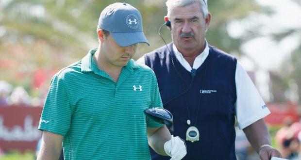 b8bb4afd518 European Tour chief rules official John Paramor chats with Jordan Spieth on  the ninth hole during